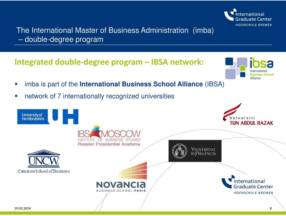 network: imba is part of the International Business School