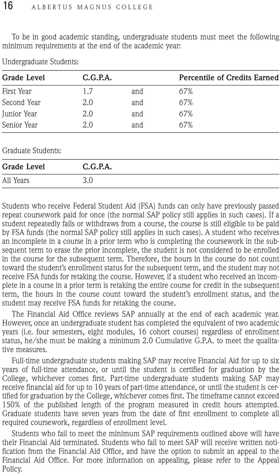 0 Students who receive Federal Student Aid (FSA) funds can only have previously passed repeat coursework paid for once (the normal SAP policy still applies in such cases).