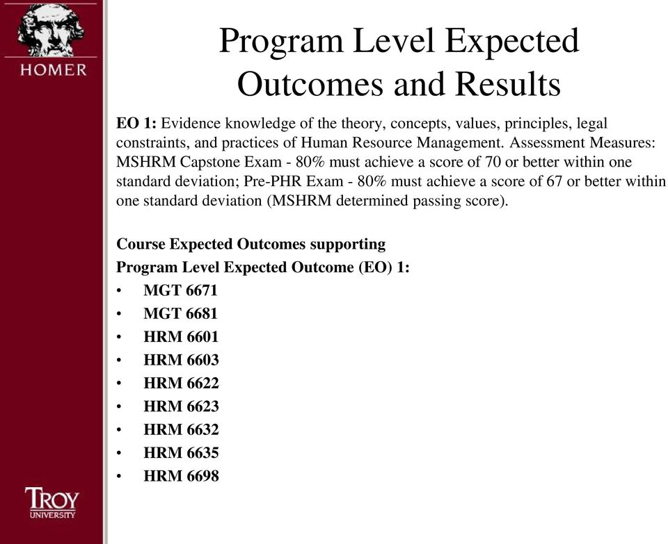 Assessment Measures: MSHRM Capstone Exam - 80% must achieve a score of 70 or better within one standard deviation; Pre-PHR Exam - 80% must