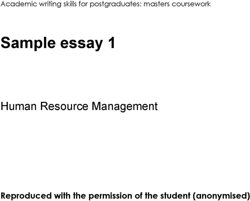 evolution of human resource management essay This course is compulsory on the msc in human resources and organisations ( human resource management/cipd) this course is one formative essay of 1000 words: study of a current business topic through the financial press wren & ag bedeian, the evolution of management thought, 6th edition, wiley 2009.