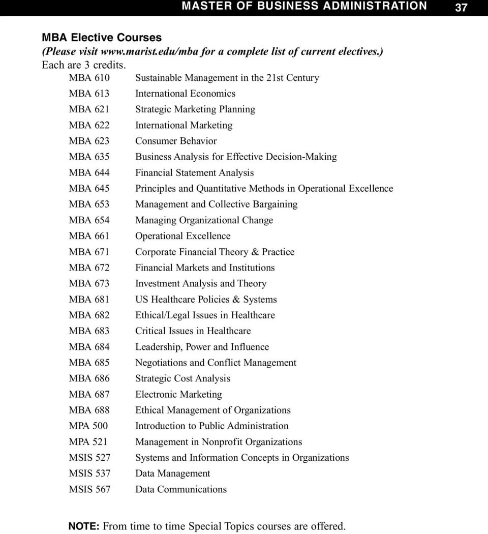 Analysis for Effective Decision-Making MBA 644 Financial Statement Analysis MBA 645 Principles and Quantitative Methods in Operational Excellence MBA 653 Management and Collective Bargaining MBA 654
