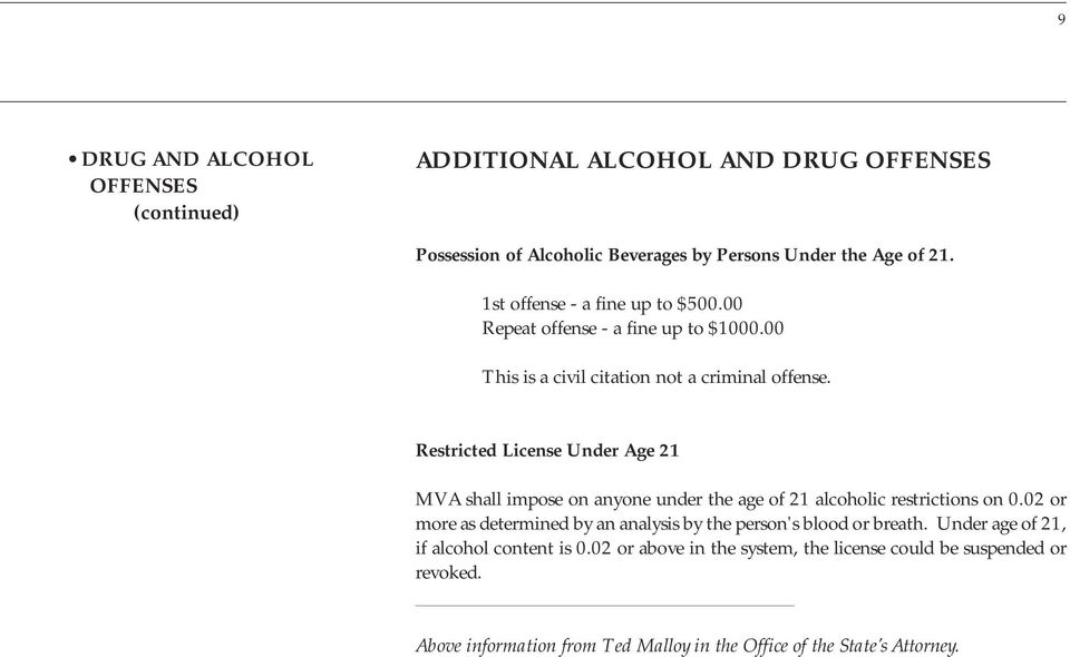 Restricted License Under Age 21 MVA shall impose on anyone under the age of 21 alcoholic restrictions on 0.