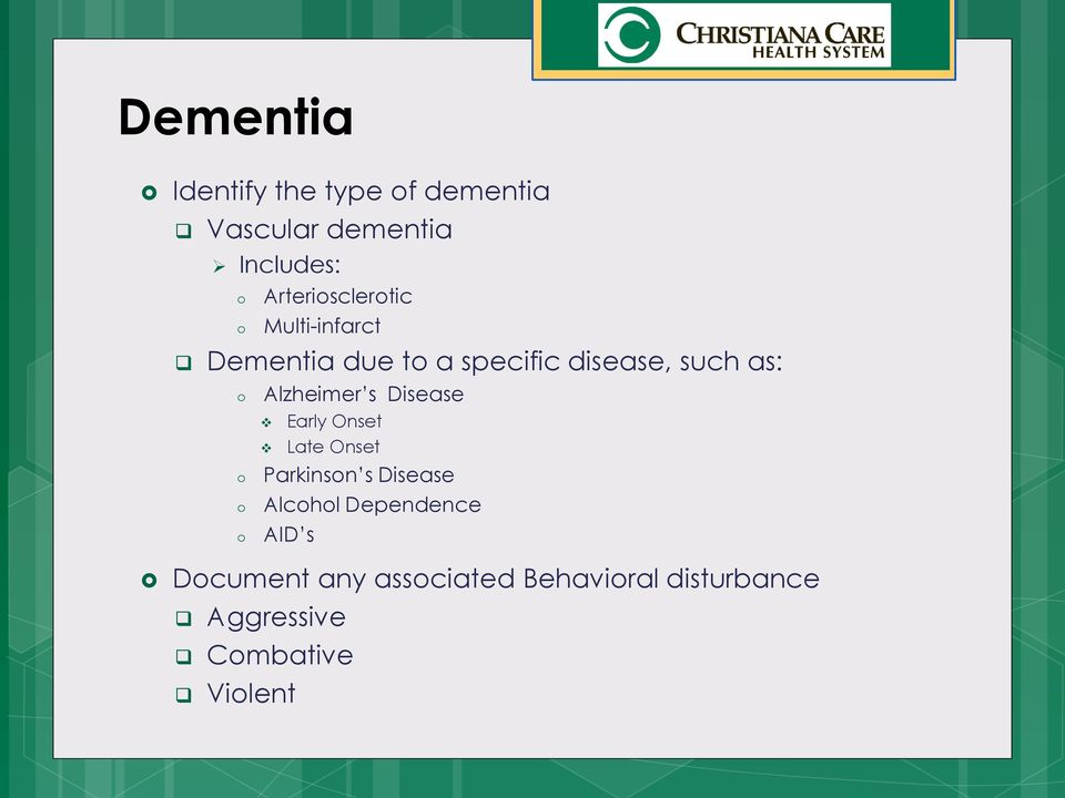 o o Alzheimer s Disease Early Onset Late Onset Parkinson s Disease Alcohol