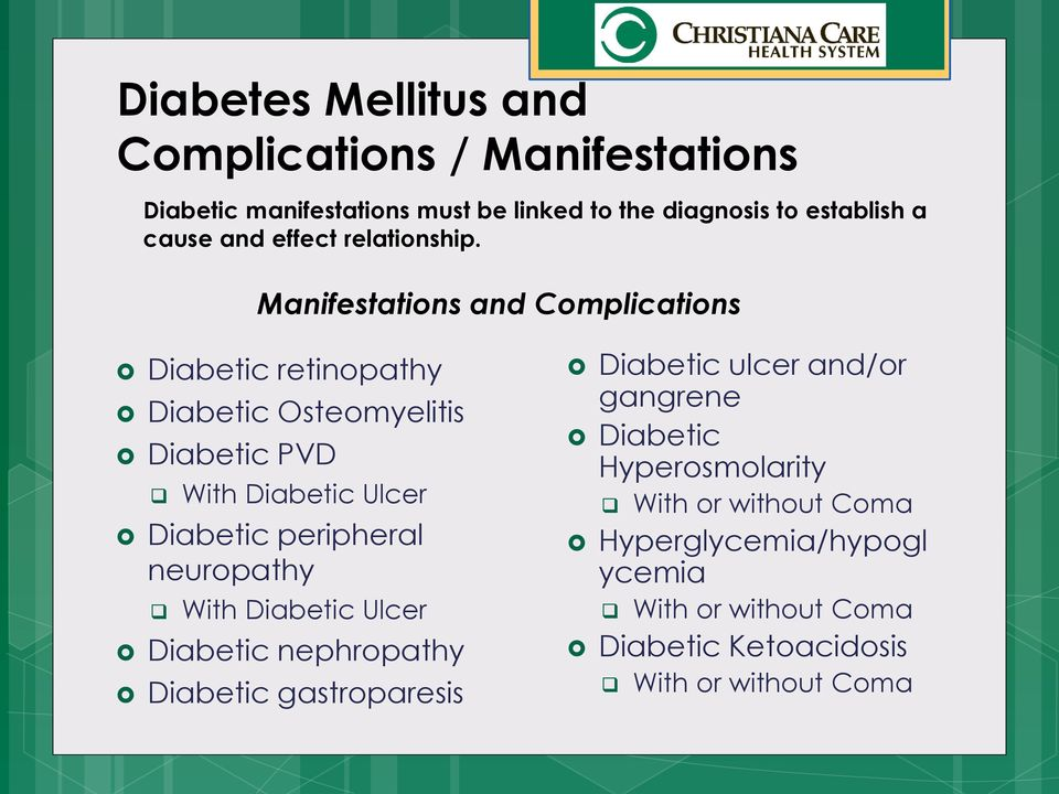 Manifestations and Complications Diabetic retinopathy Diabetic Osteomyelitis Diabetic PVD With Diabetic Ulcer Diabetic peripheral