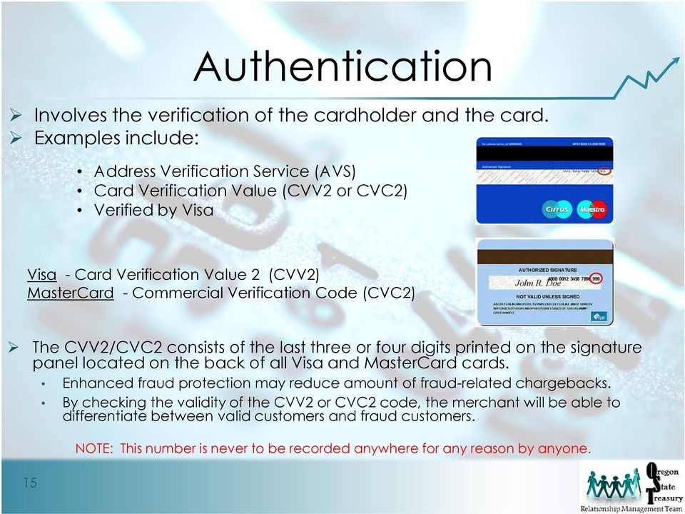 Verification Code (CVC2) The CVV2/CVC2 consists of the last three or four digits printed on the signature panel located on the back of all Visa and MasterCard cards.