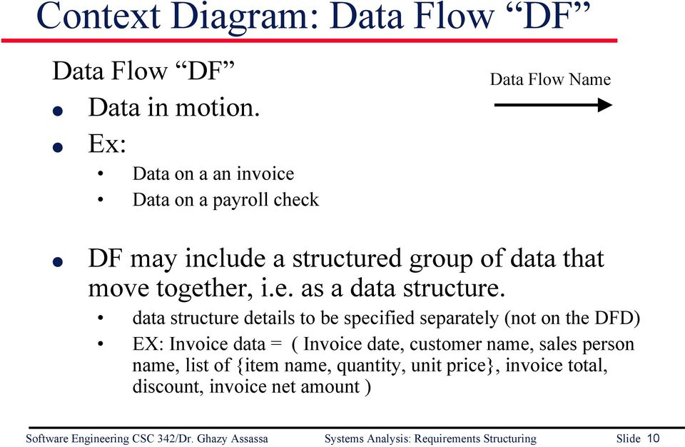 data structure details to be specified separately (not on the DFD) EX: Invoice data = ( Invoice date, customer name, sales person