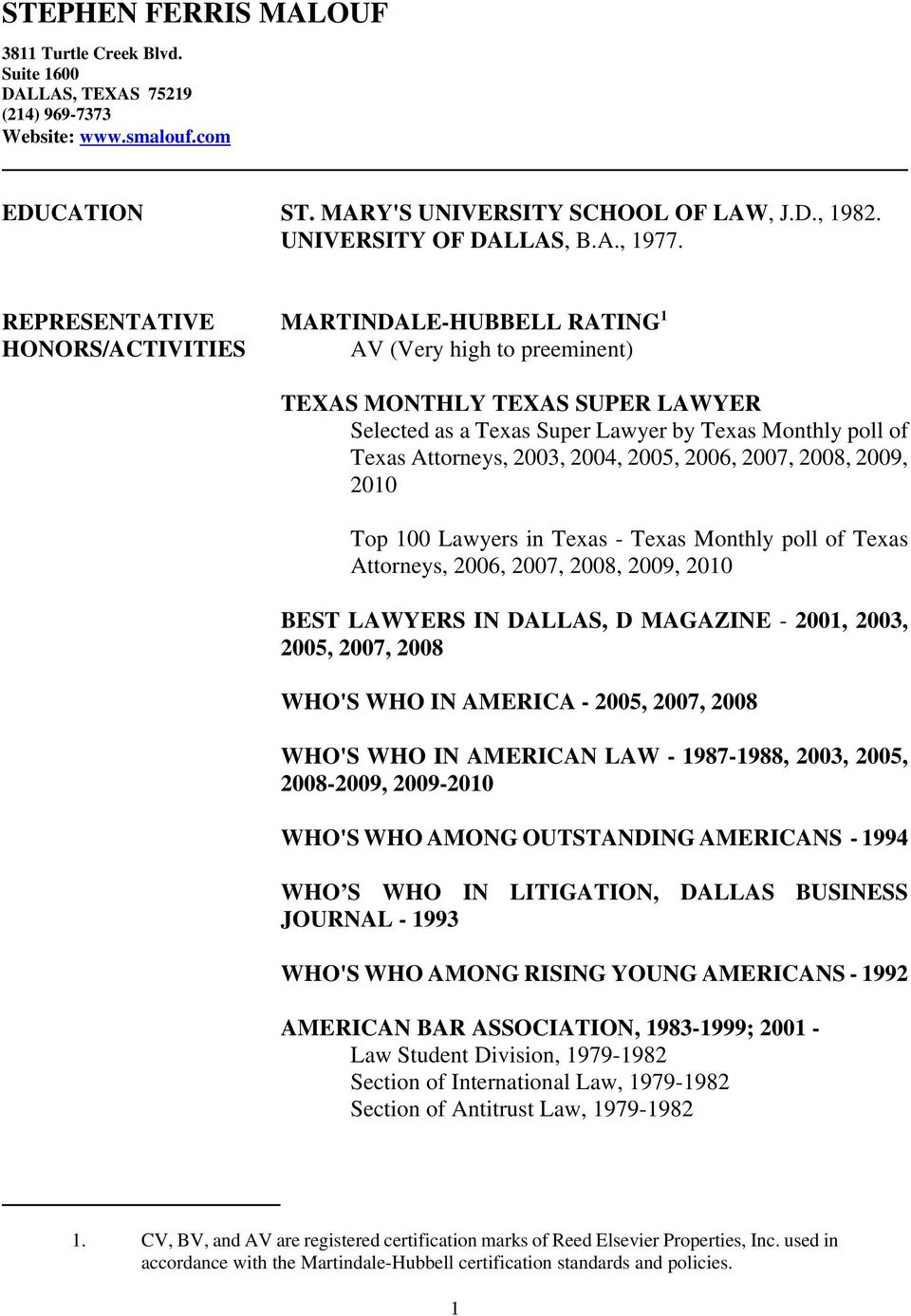 REPRESENTATIVE MARTINDALE-HUBBELL RATING 1 HONORS/ACTIVITIES AV (Very high to preeminent) TEXAS MONTHLY TEXAS SUPER LAWYER Selected as a Texas Super Lawyer by Texas Monthly poll of Texas Attorneys,