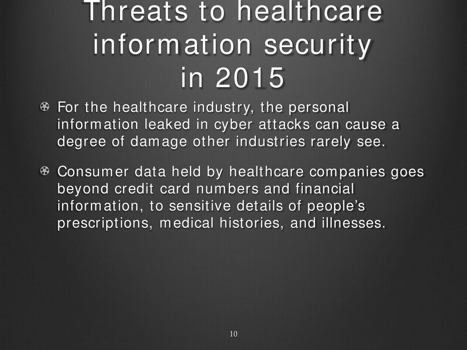 Consumer data held by healthcare companies goes beyond credit card numbers and financial