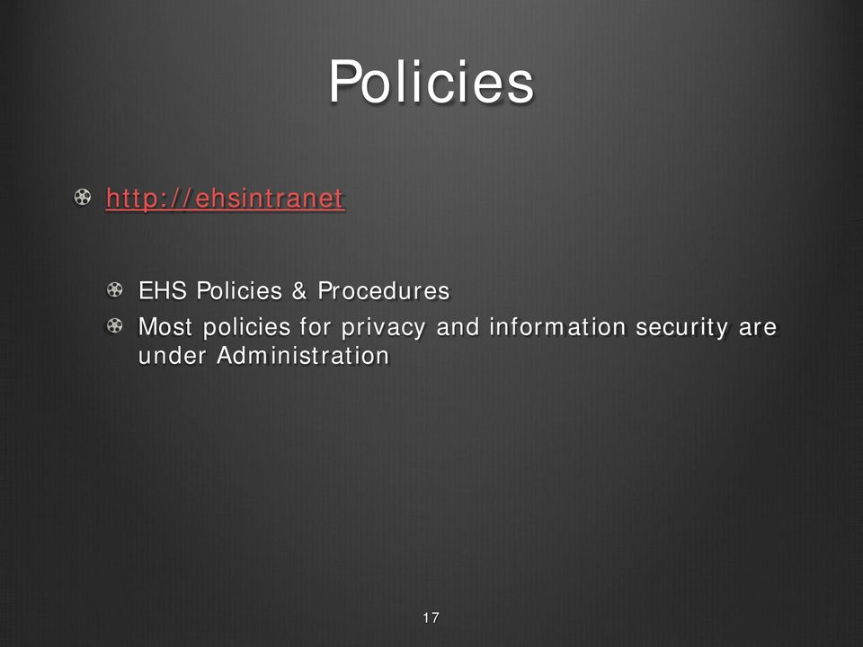 policies for privacy and