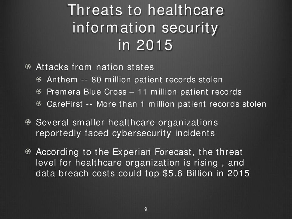 stolen Several smaller healthcare organizations reportedly faced cybersecurity incidents According to the