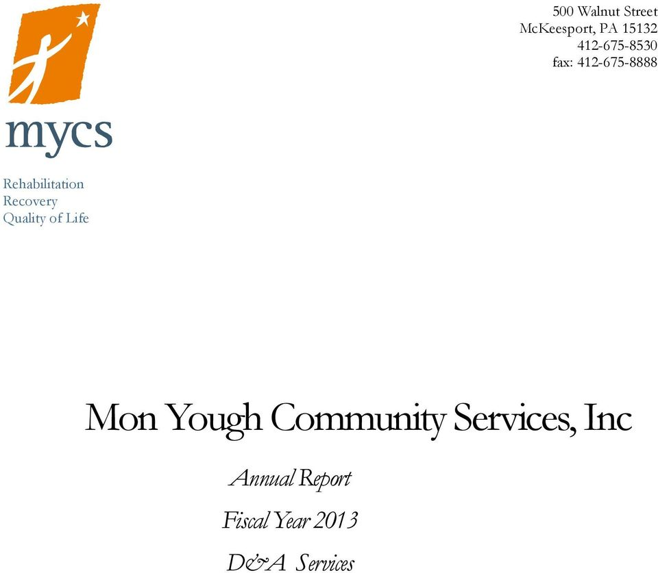Recovery Quality of Life Mon Yough Community