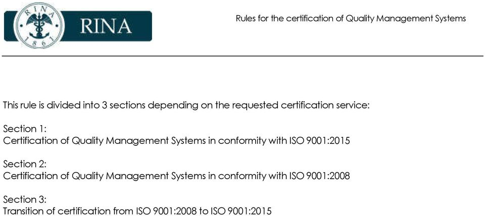 ISO 9001:2015 Section 2: Certification of Quality Management Systems in conformity