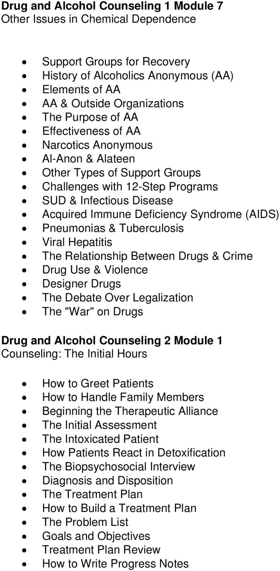 "& Tuberculosis Viral Hepatitis The Relationship Between Drugs & Crime Drug Use & Violence Designer Drugs The Debate Over Legalization The ""War"" on Drugs Drug and Alcohol Counseling 2 Module 1"