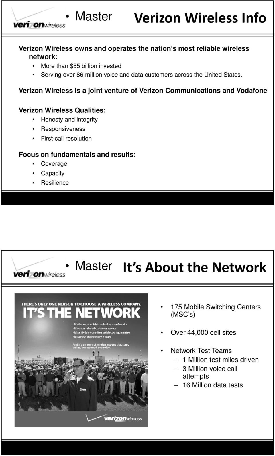 Verizon Wireless is a joint venture of Verizon Communications and Vodafone Verizon Wireless Qualities: Honesty and integrity Responsiveness First-call
