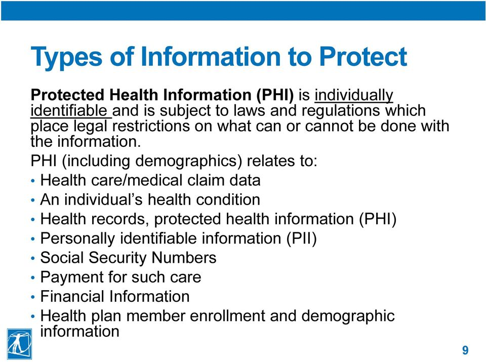 PHI (including demographics) relates to: Health care/medical claim data An individual s health condition Health records, protected