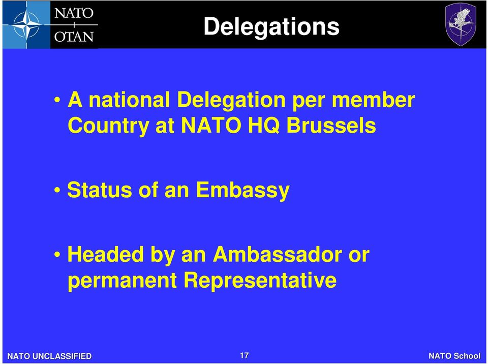 Brussels Status of an Embassy Headed