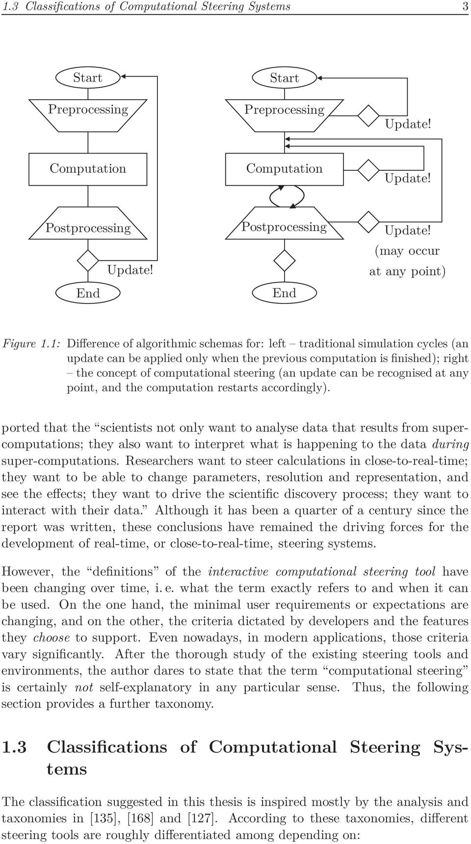 1: Difference of algorithmic schemas for: left traditional simulation cycles (an update can be applied only when the previous computation is finished); right the concept of computational steering (an