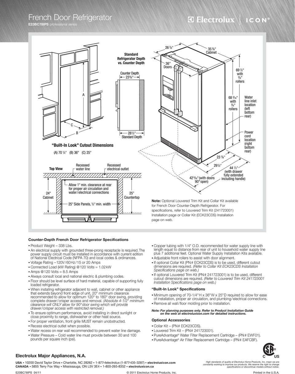 Counter-Depth French Door Refrigerator Specifications Product Weight 338 Lbs. An electrical supply with grounded three-prong receptacle is required.