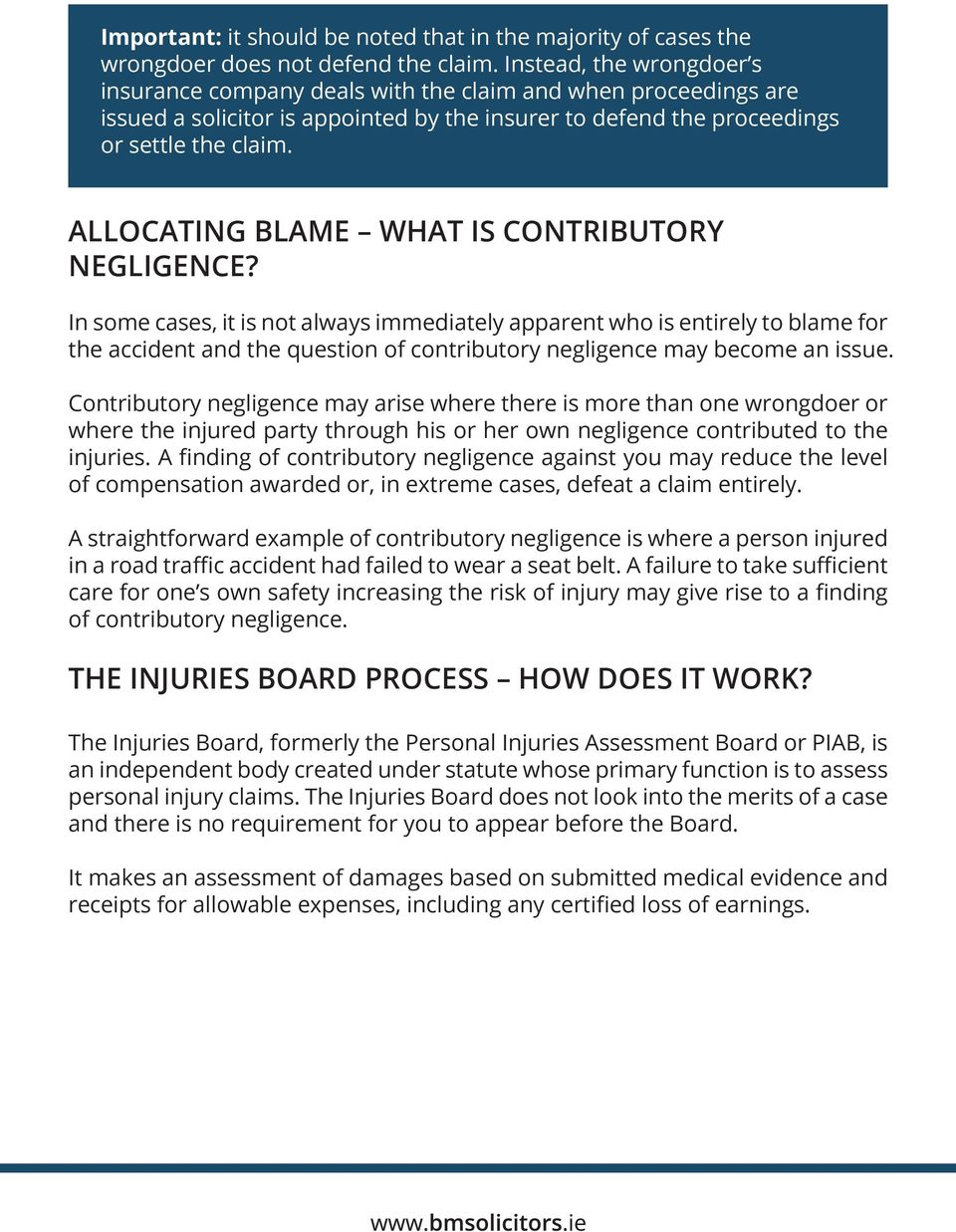 ALLOCATING BLAME WHAT IS CONTRIBUTORY NEGLIGENCE?