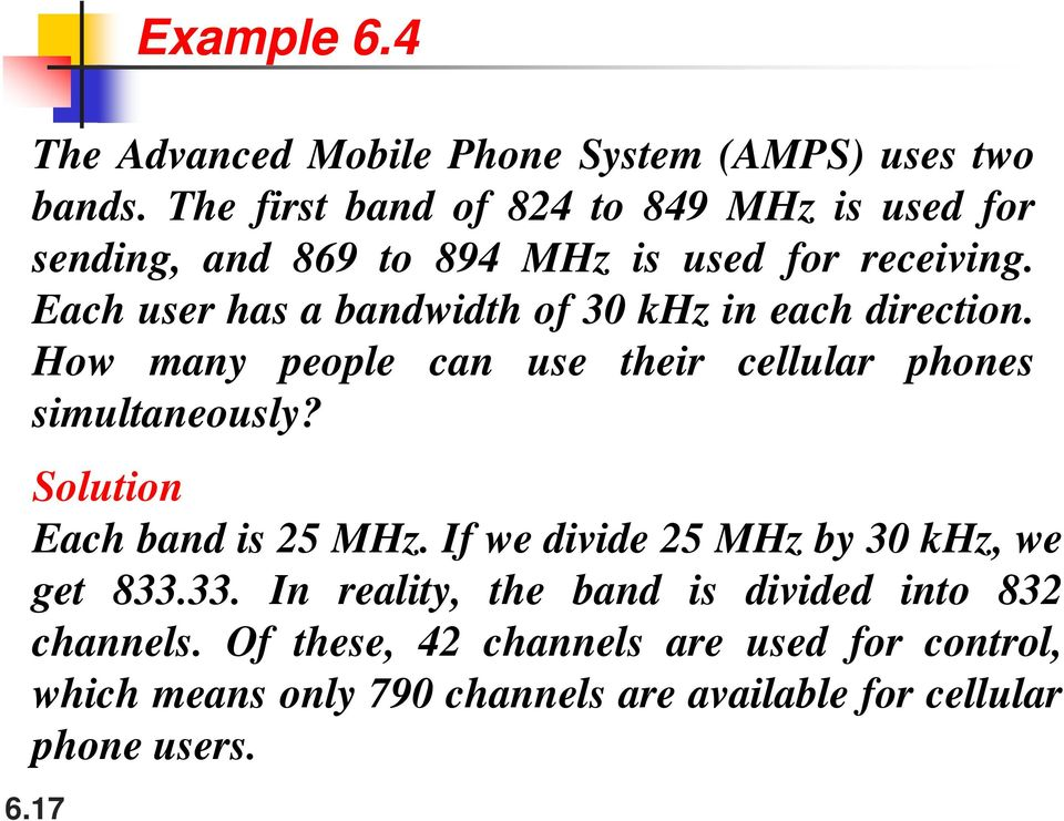Each user has a bandwidth of 30 khz in each direction. How many people can use their cellular phones simultaneously?