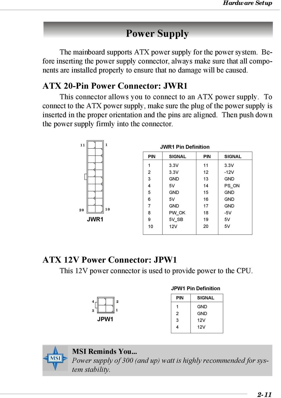 ATX 0-Pin Power Connector: JWR This connector allows you to connect to an ATX power supply.