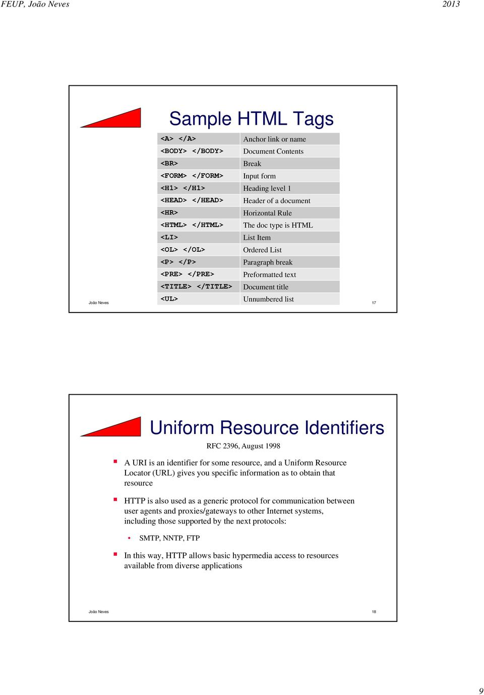 Uniform Resource Identifiers A URI is an identifier for some resource, and a Uniform Resource Locator (URL) gives you specific information as to obtain that resource HTTP is also used as a generic