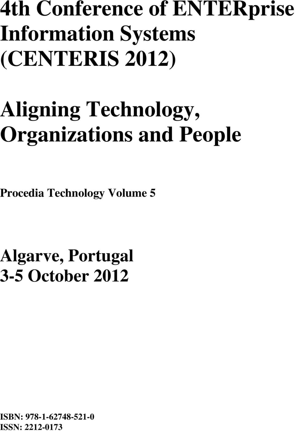 and People Procedia Technology Volume 5 Algarve,