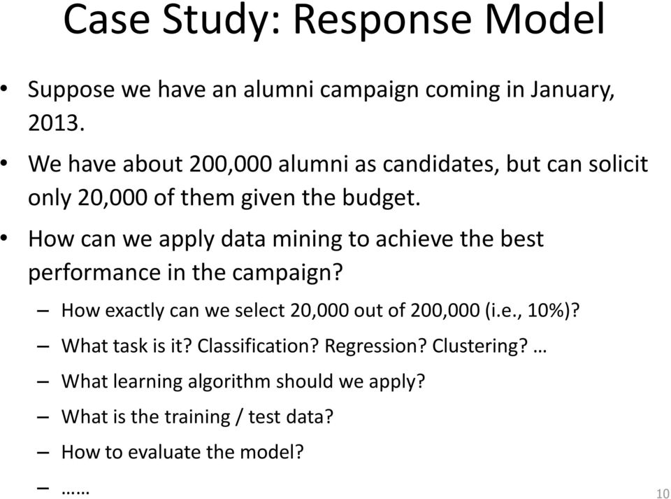 How can we apply data mining to achieve the best performance in the campaign?