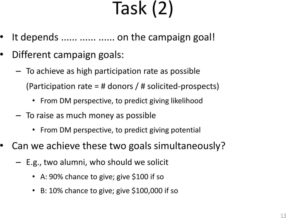 solicited-prospects) From DM perspective, to predict giving likelihood To raise as much money as possible From DM