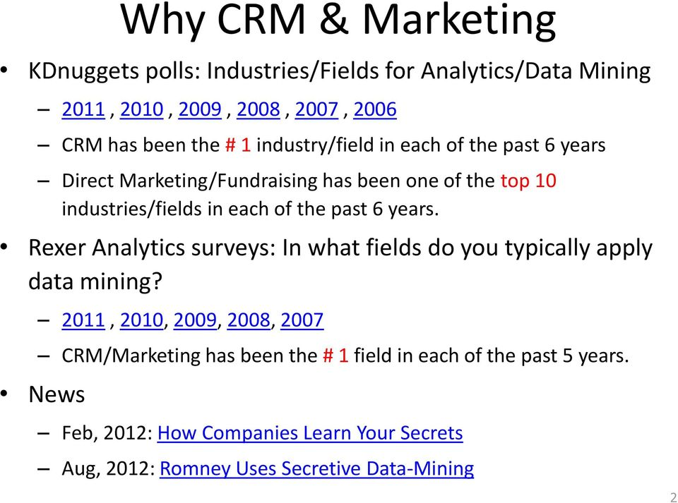 6 years. Rexer Analytics surveys: In what fields do you typically apply data mining?