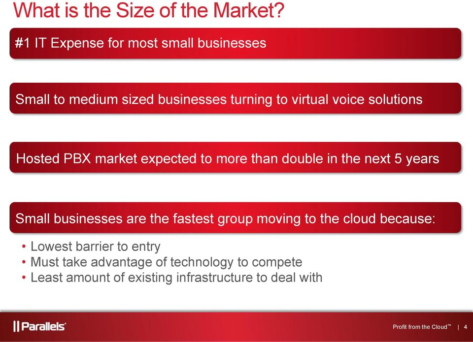 solutions Hosted PBX market expected to more than double in the next 5 years Small businesses are the