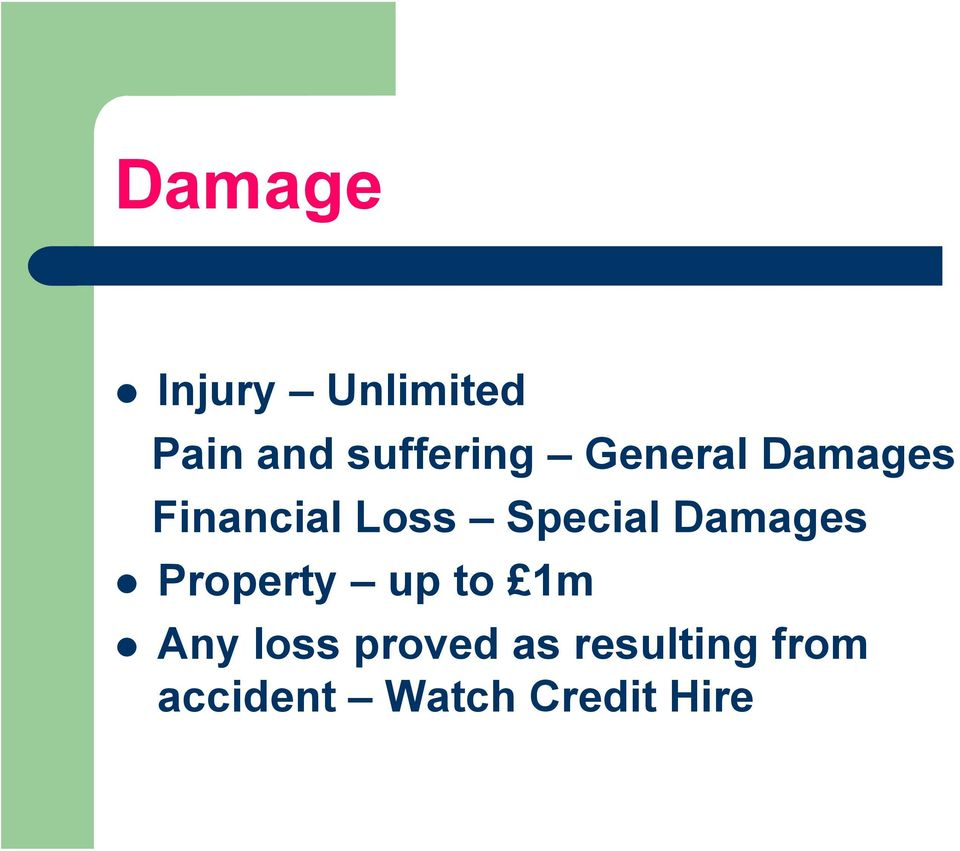 Special Damages Property up to 1m Any