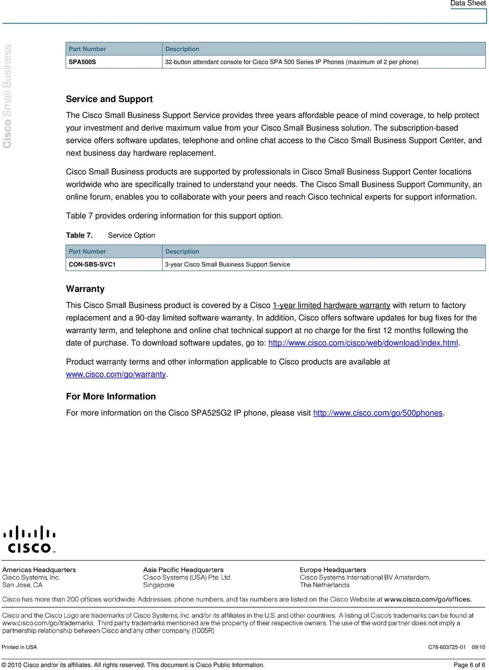 The subscription-based service offers software updates, telephone and online chat access to the Cisco Small Business Support Center, and next business day hardware replacement.