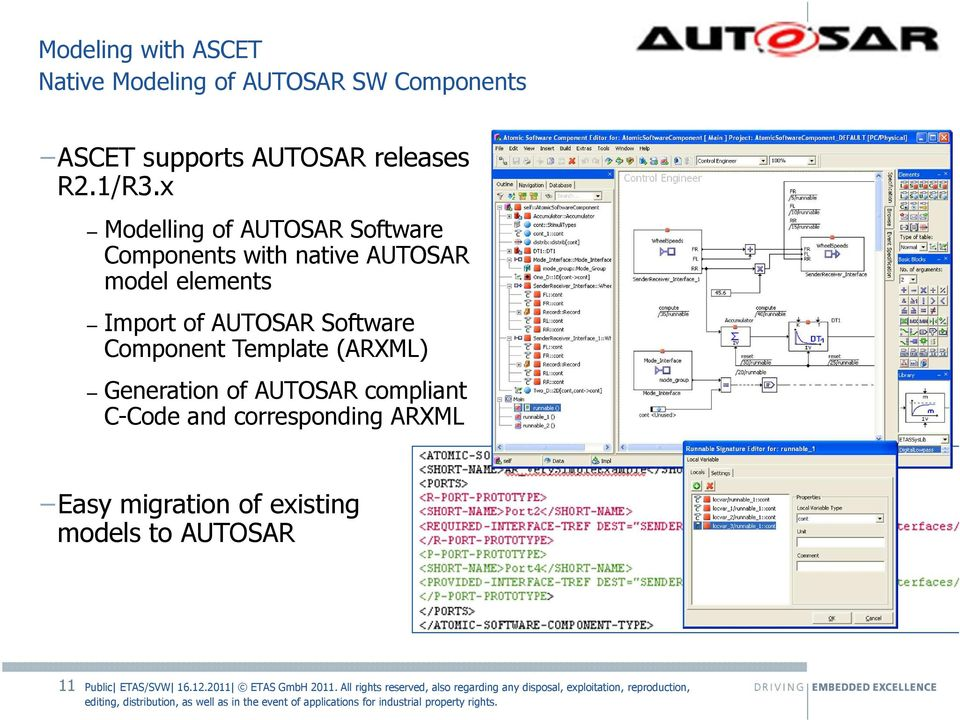 x Modelling of AUTOSAR Software Components with native AUTOSAR model elements Import