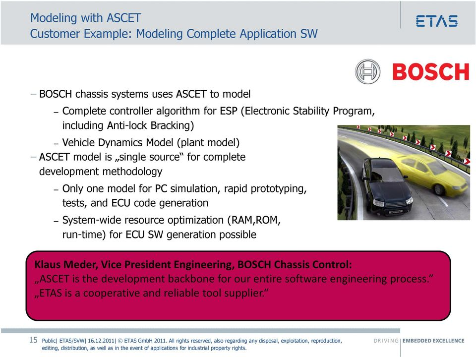 for PC simulation, rapid prototyping, tests, and ECU code generation System-wide resource optimization (RAM,ROM, run-time) for ECU SW generation possible Klaus Meder,