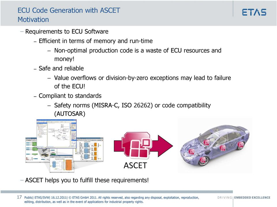 Safe and reliable Value overflows or division-by-zero exceptions may lead to failure of the ECU!