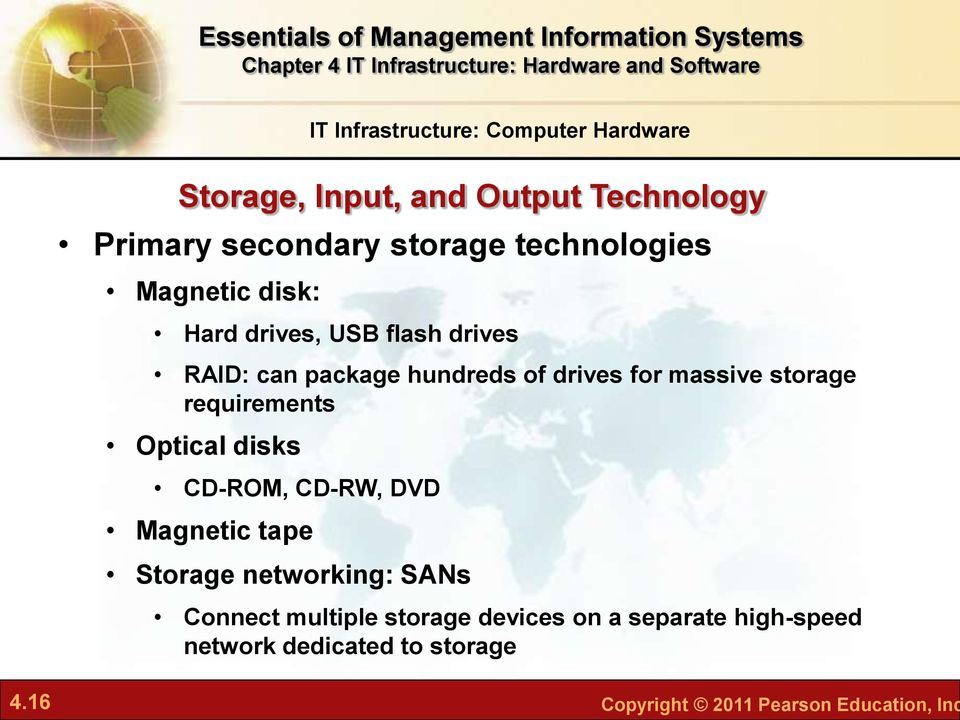 storage requirements Optical disks CD-ROM, CD-RW, DVD Magnetic tape Storage networking: SANs Connect