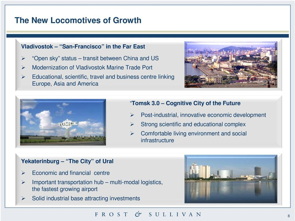 0 Cognitive City of the Future Post-industrial, innovative economic development Strong scientific and educational complex Comfortable living environment
