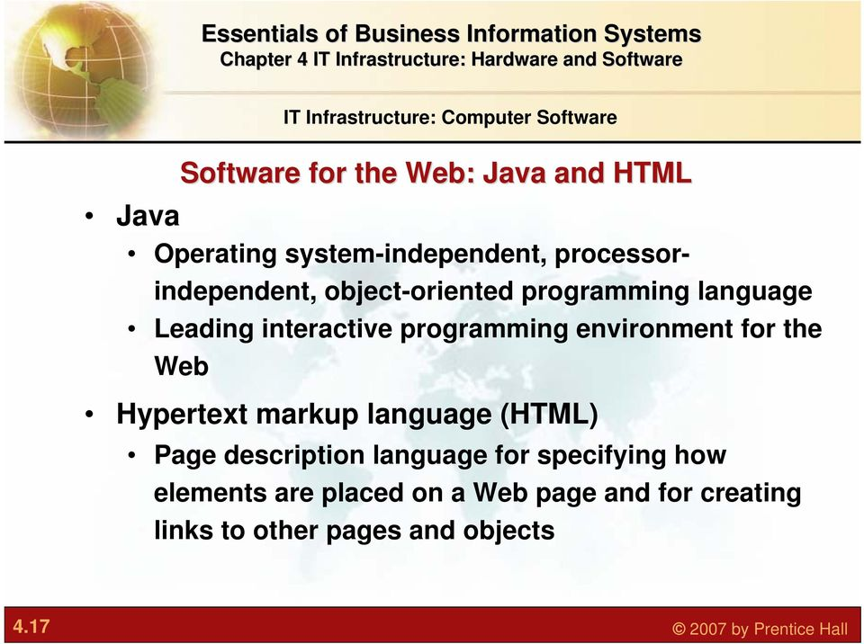 programming environment for the Web Hypertext markup language (HTML) Page description language for