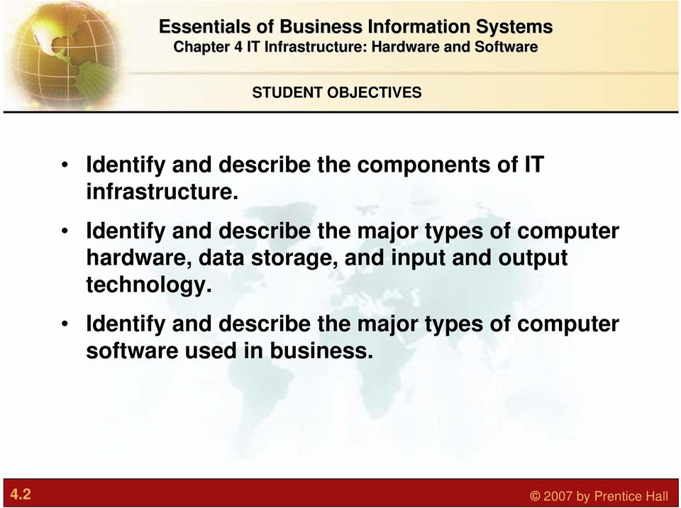 Identify and describe the major types of computer hardware, data