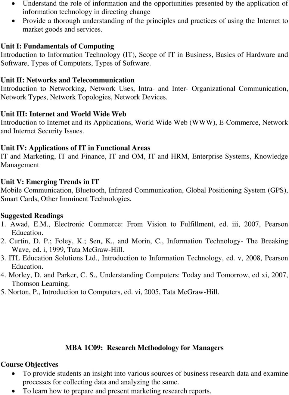Unit I: Fundamentals of Computing Introduction to Information Technology (IT), Scope of IT in Business, Basics of Hardware and Software, Types of Computers, Types of Software.