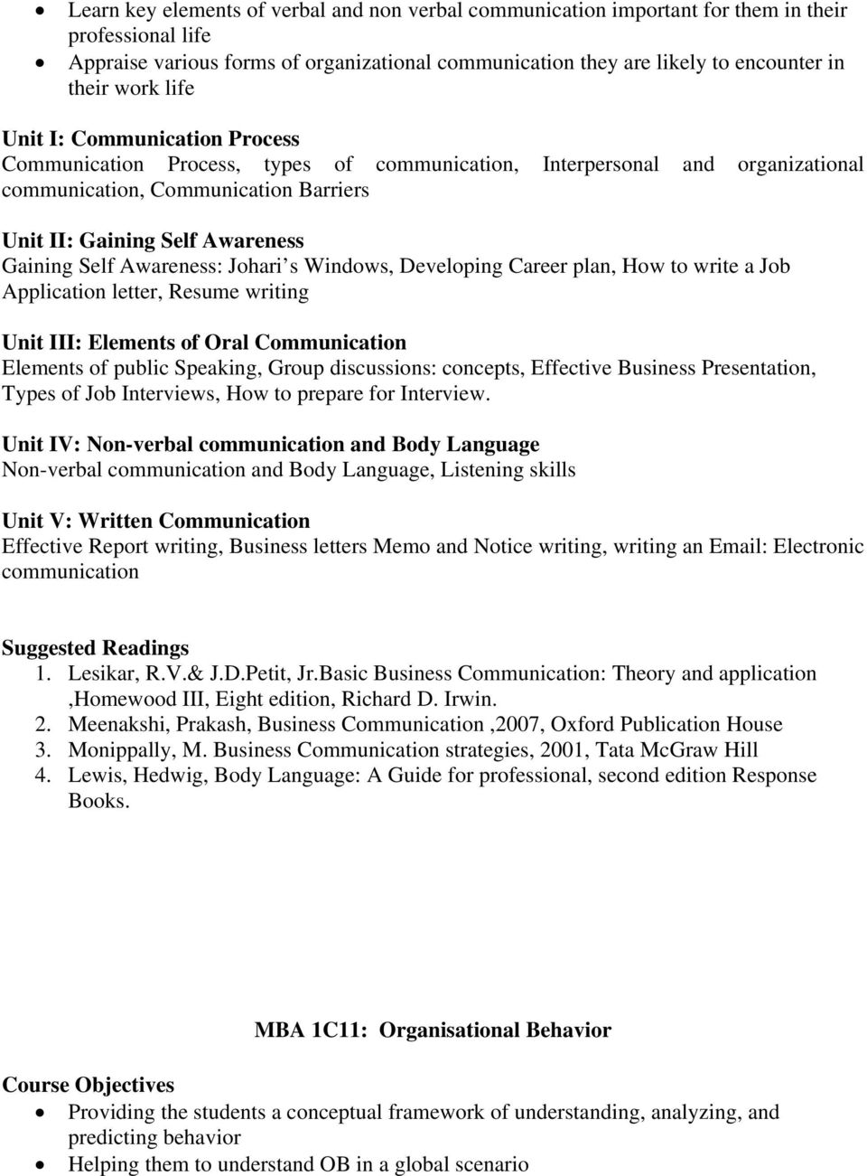 Self Awareness: Johari s Windows, Developing Career plan, How to write a Job Application letter, Resume writing Unit III: Elements of Oral Communication Elements of public Speaking, Group