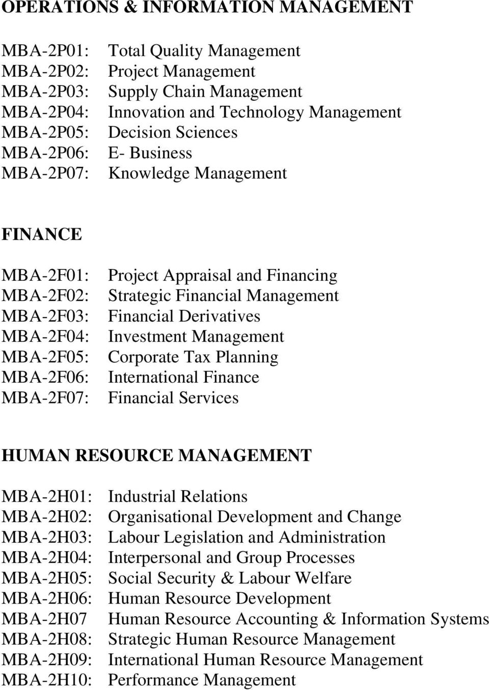 Management Financial Derivatives Investment Management Corporate Tax Planning International Finance Financial Services HUMAN RESOURCE MANAGEMENT MBA-2H01: Industrial Relations MBA-2H02: