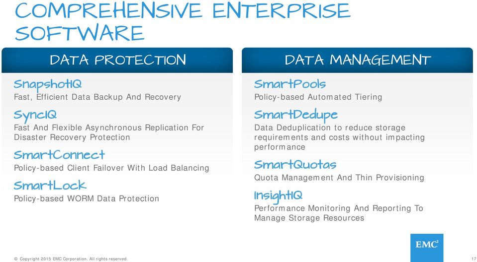 Protection DATA MANAGEMENT SmartPools Policy-based Automated Tiering SmartDedupe Data Deduplication to reduce storage requirements and costs