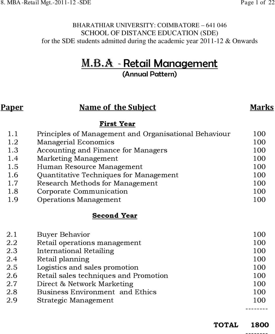 6 Quantitative Techniques for Management 100 1.7 Research Methods for Management 100 1.8 Corporate Communication 100 1.9 Operations Management 100 Second Year 2.1 Buyer Behavior 100 2.