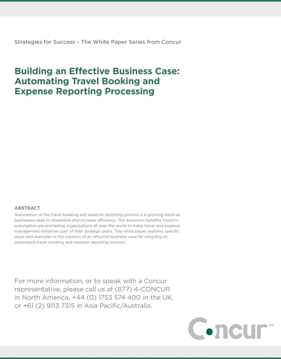 building an effective business case automating travel booking and