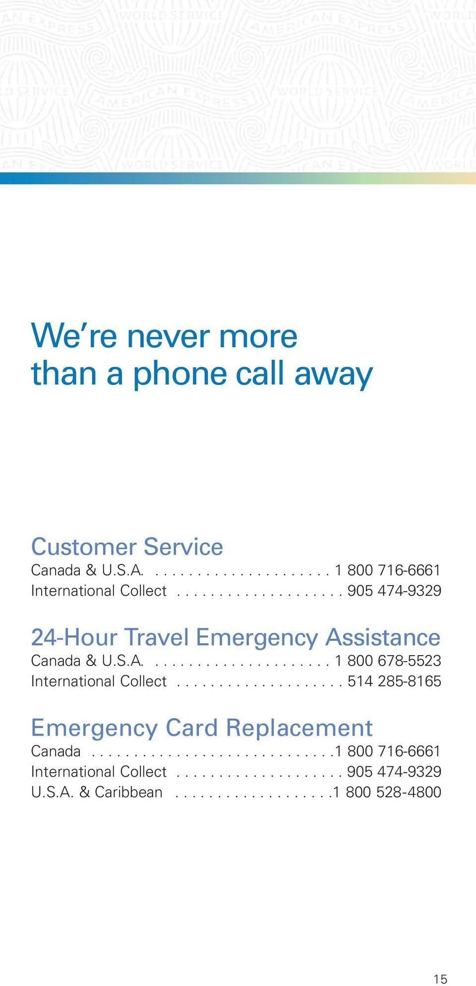................... 514 285-8165 Emergency Card Replacement Canada.............................1 800 716-6661 International Collect.