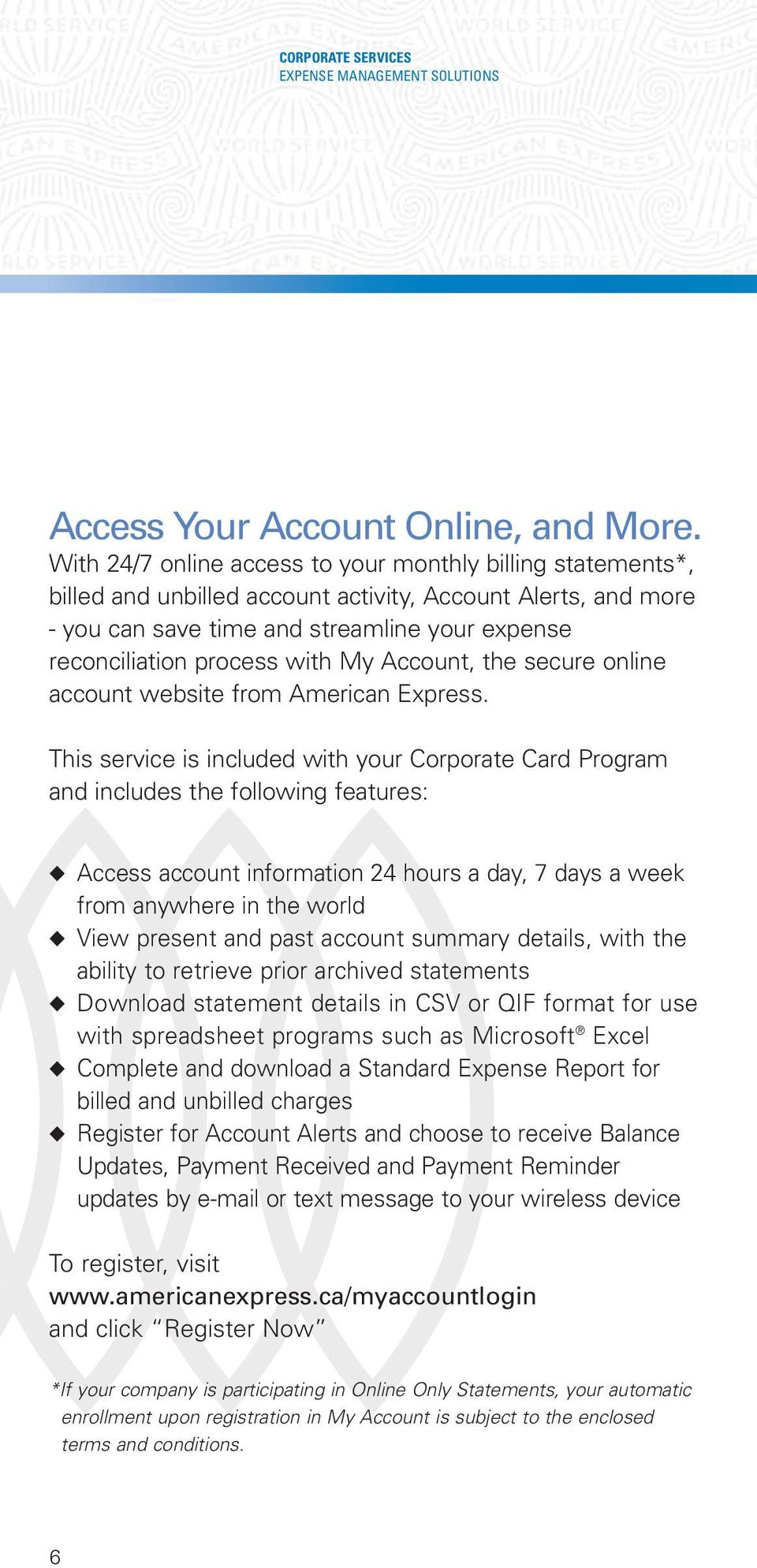 My Account, the secure online account website from American Express.