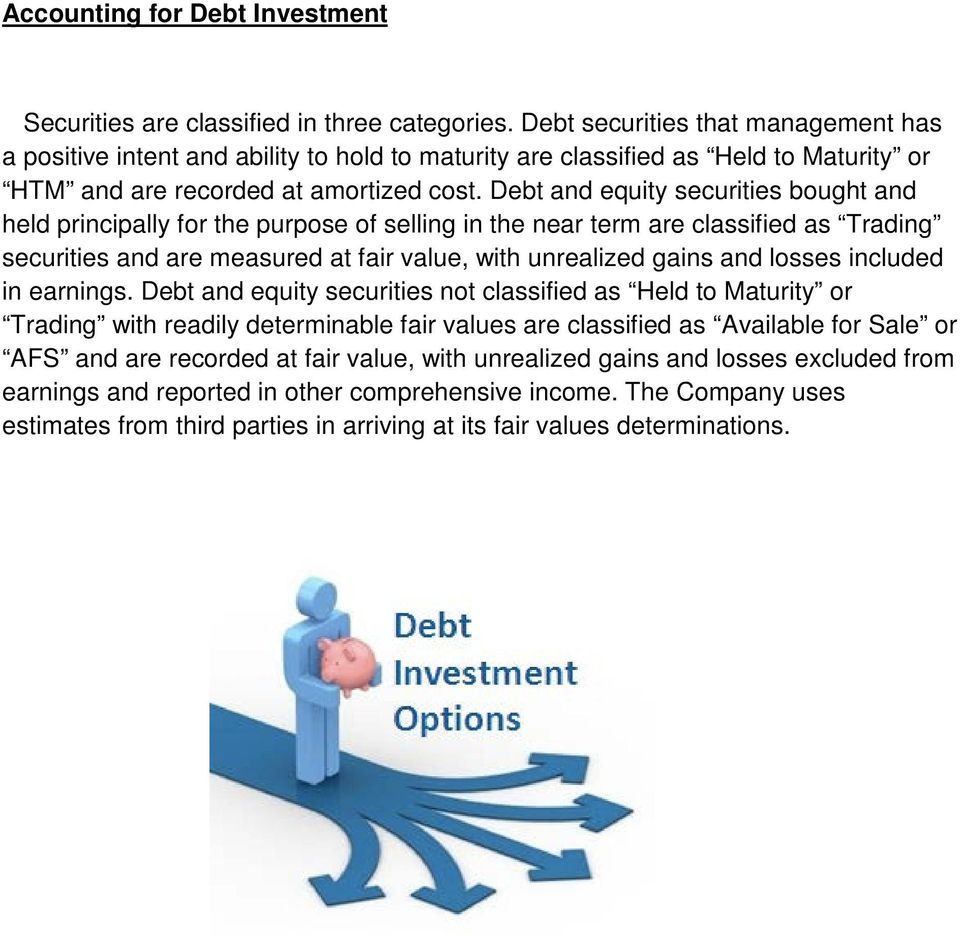 Debt and equity securities bought and held principally for the purpose of selling in the near term are classified as Trading securities and are measured at fair value, with unrealized gains and
