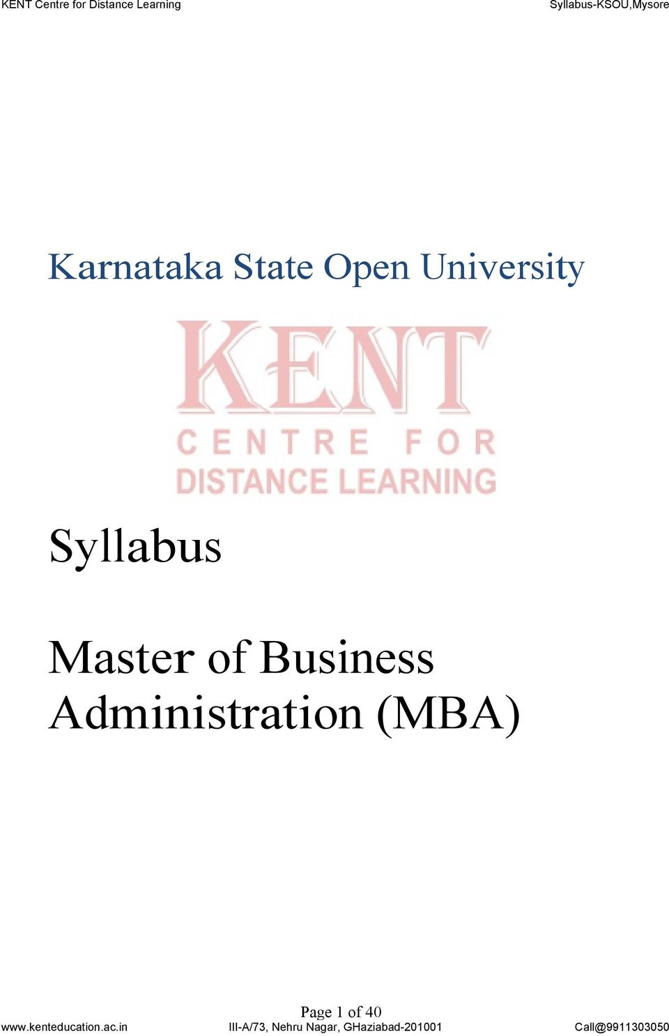 University Syllabus Master of